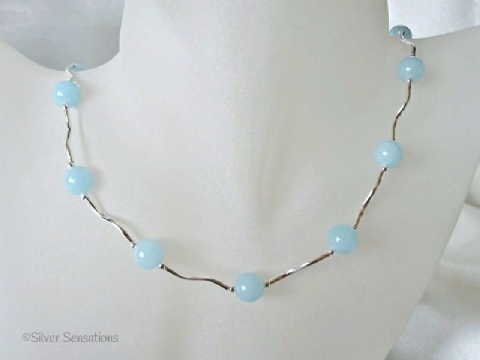 Pastel Blue Jade Necklace With Sterling Silver Wave Tubes